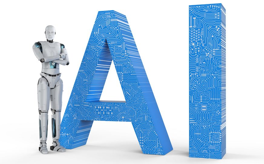 Robot standing next to the letters AI